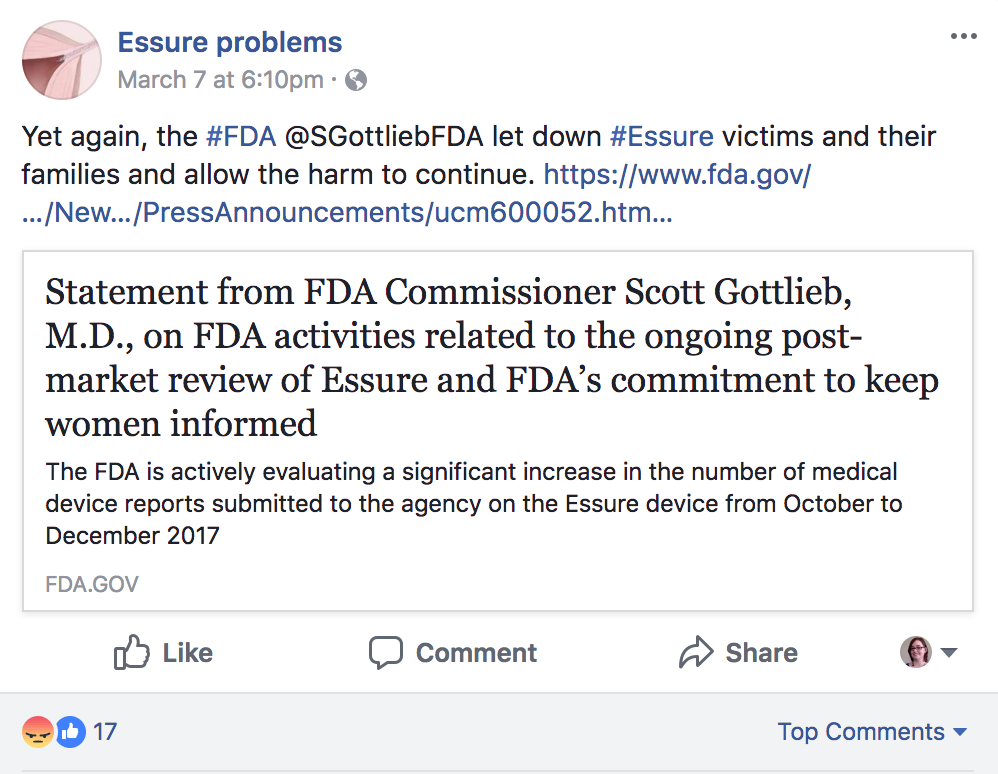 Facebook group Essure Problems were disappointed by FDA's latest statement on the Essure birth control device.