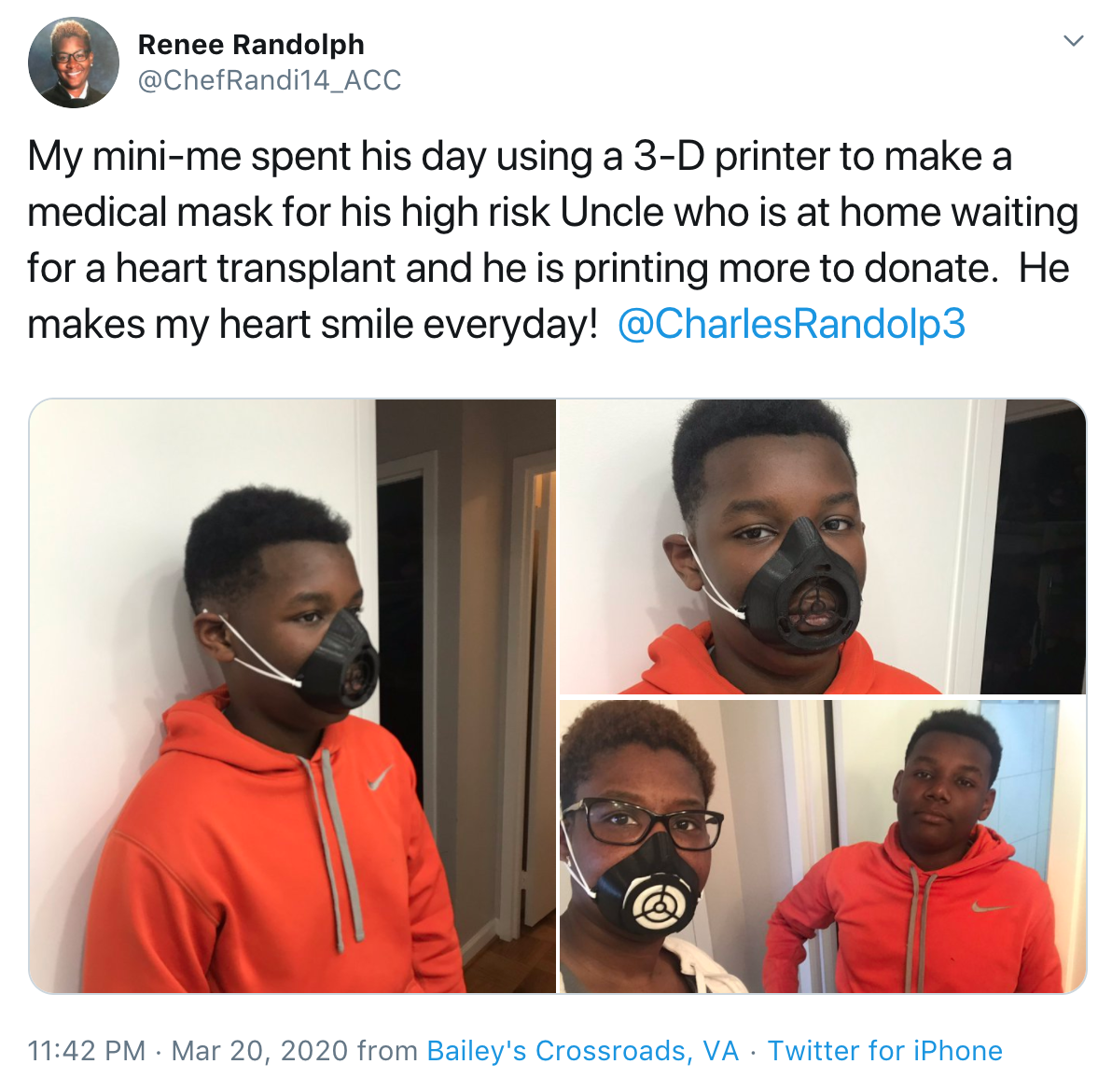 Boy makes masks for sick uncle using 3D printer