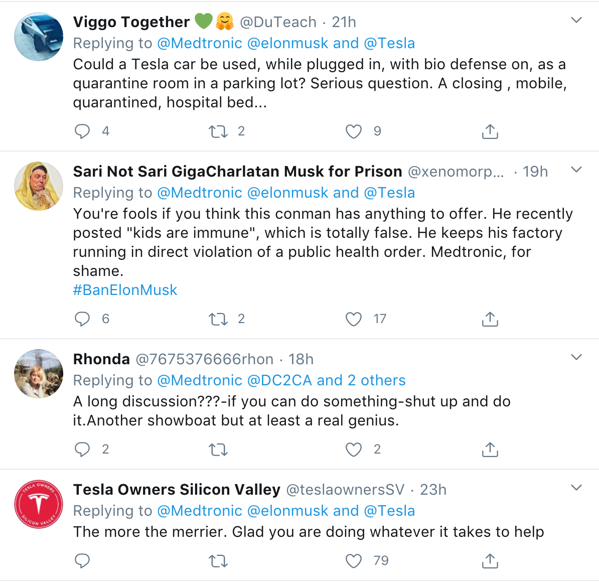 Twitter discussion of Musk and Medtronic working on ventilator shortage