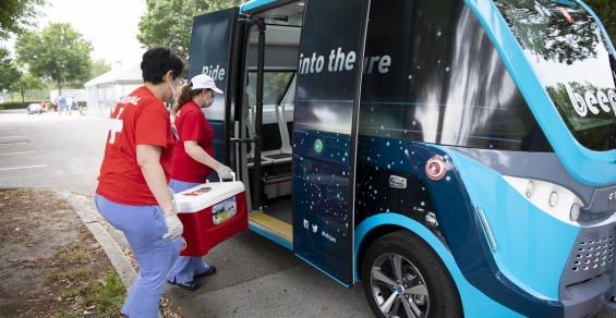 A Self-Driving Shuttle Makes Special Deliveries During COVID-19