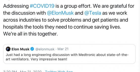 Elon Musk Talks Ventilators with Medtronic